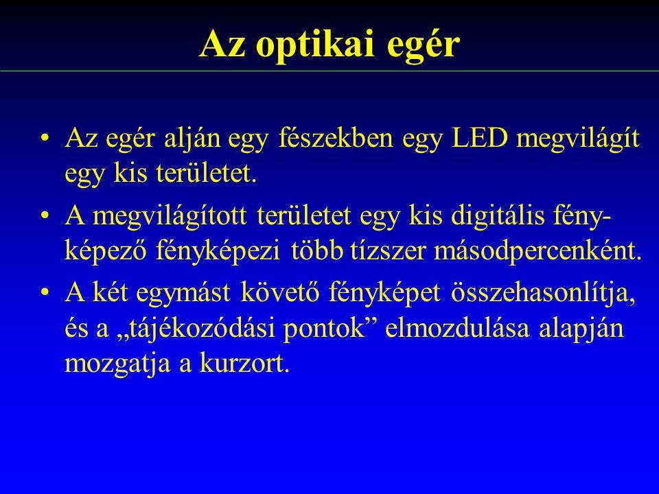 Az egér alján egy fészekben egy LED megvilágít egy kis területet. A megvilágított területet egy kis digitális fény- képező fényképezi több tízszer más