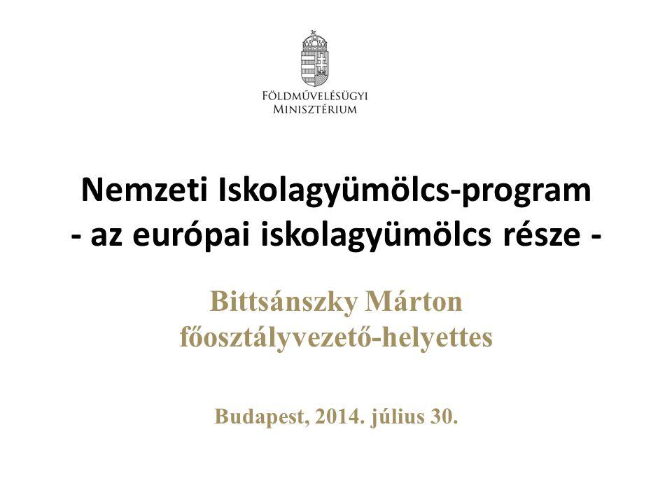Nemzeti Iskolagyümölcs-program - az európai iskolagyümölcs része - Bittsánszky Márton főosztályvezető-helyettes Budapest, 2014.