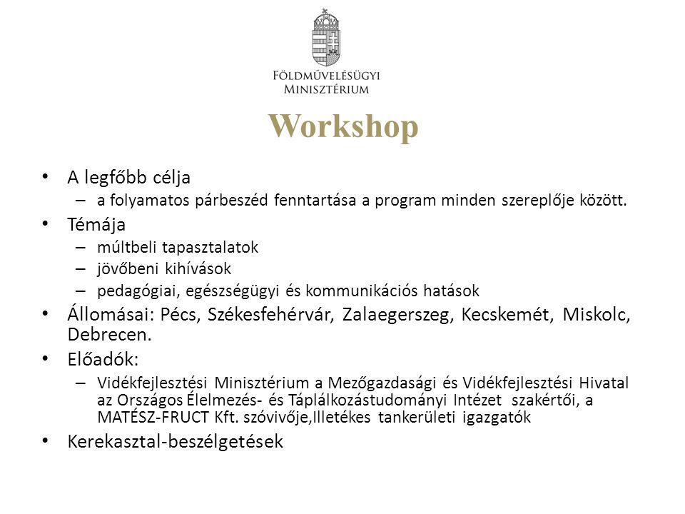 Workshop A legfőbb célja – a folyamatos párbeszéd fenntartása a program minden szereplője között.