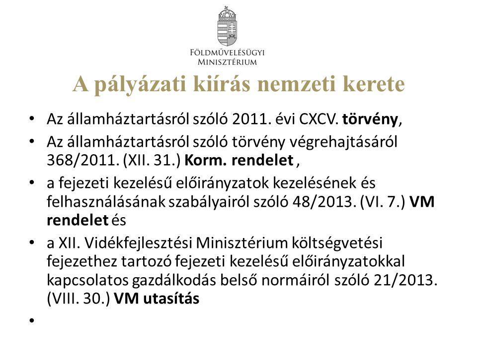 A pályázati kiírás nemzeti kerete Az államháztartásról szóló 2011.