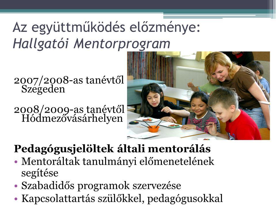 Az együttműködés előzménye: Hallgatói Mentorprogram 2007/2008-as tanévtől Szegeden 2008/2009-as tanévtől Hódmezővásárhelyen Pedagógusjelöltek általi mentorálás Mentoráltak tanulmányi előmenetelének segítése Szabadidős programok szervezése Kapcsolattartás szülőkkel, pedagógusokkal