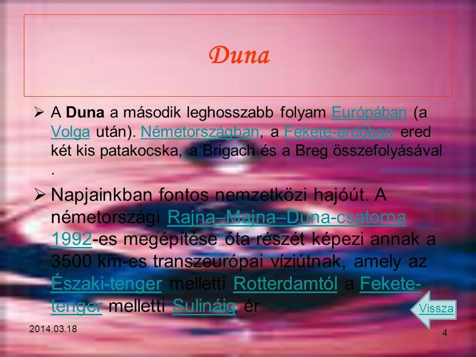 2014.03.18 Duna  A Duna a második leghosszabb folyam Európában (a Volga után). Németországban, a Fekete-erdőben ered két kis patakocska, a Brigach és