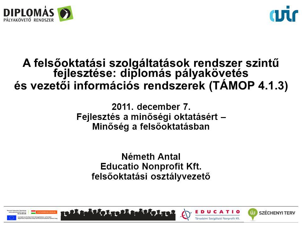 A felsőoktatási szolgáltatások rendszer szintű fejlesztése: diplomás pályakövetés és vezetői információs rendszerek (TÁMOP 4.1.3) 2011. december 7. Fe