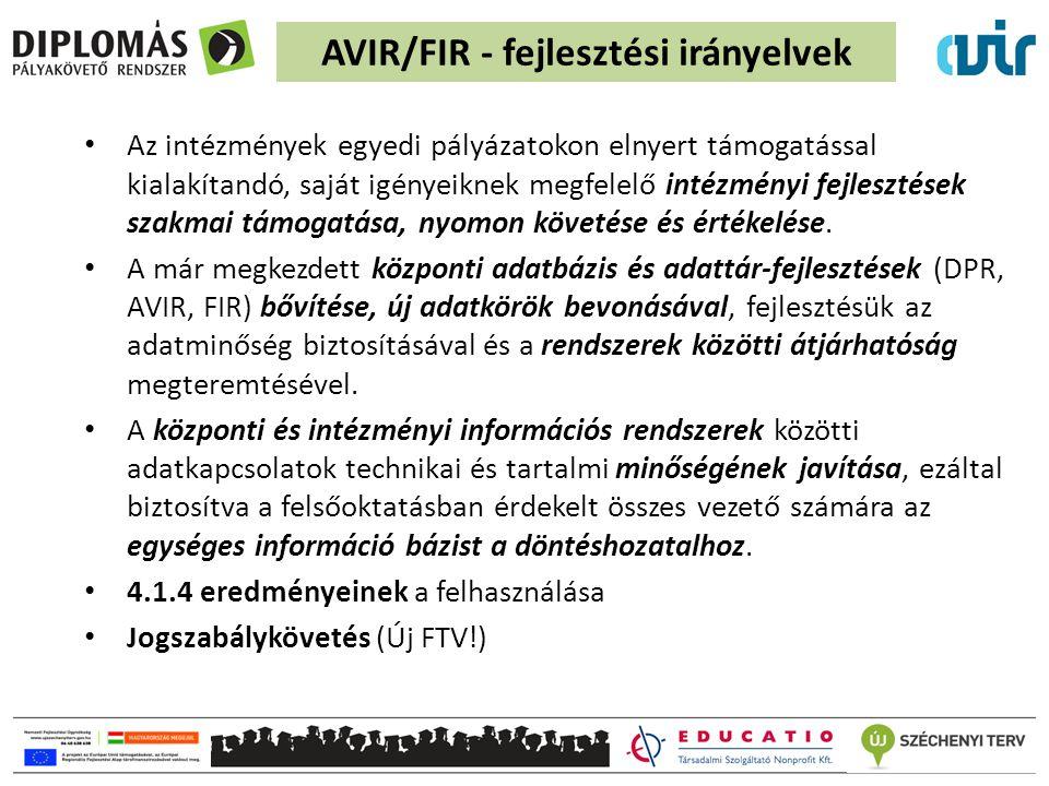 AVIR/FIR - fejlesztési irányelvek Az intézmények egyedi pályázatokon elnyert támogatással kialakítandó, saját igényeiknek megfelelő intézményi fejlesz