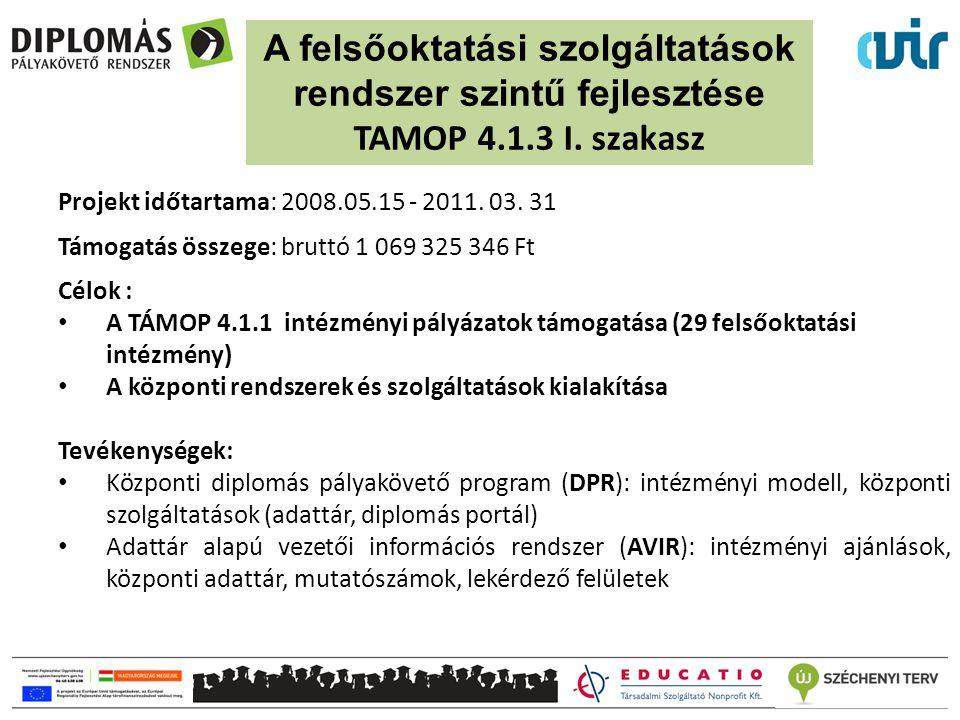 Projekt időtartama: 2008.05.15 - 2011. 03. 31 Támogatás összege: bruttó 1 069 325 346 Ft Célok : A TÁMOP 4.1.1 intézményi pályázatok támogatása (29 fe