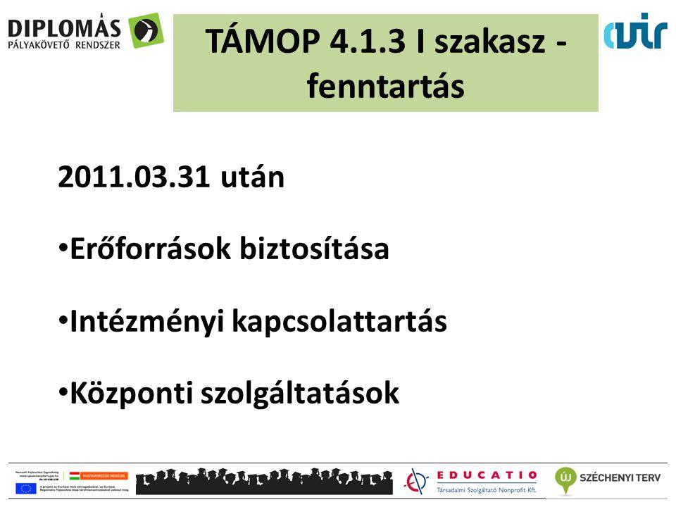 2011.03.31 után Erőforrások biztosítása Intézményi kapcsolattartás Központi szolgáltatások TÁMOP 4.1.3 I szakasz - fenntartás