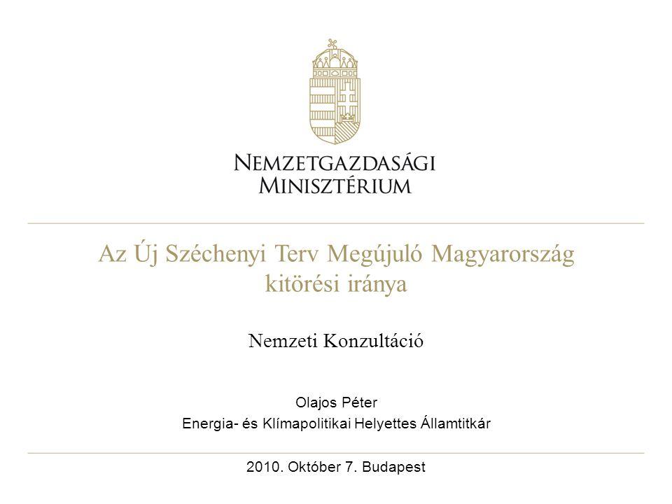 Az Új Széchenyi Terv Megújuló Magyarország kitörési iránya Nemzeti Konzultáció Olajos Péter Energia- és Klímapolitikai Helyettes Államtitkár 2010.