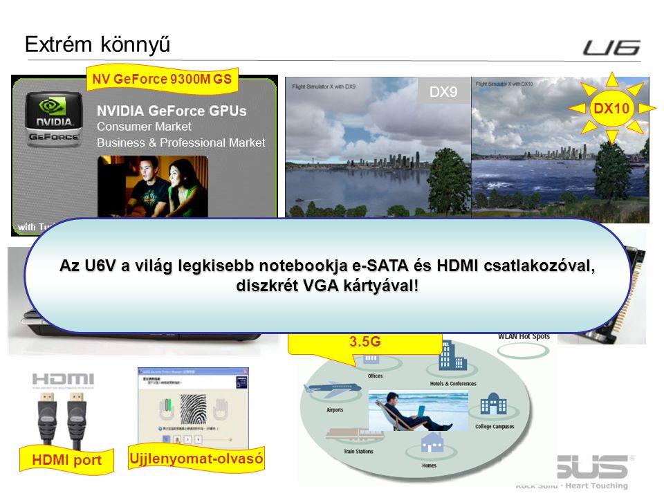 3 Extrém könnyű DX9 with Turbo Memory 256MB NV GeForce 9300M GS HDMI port Ujjlenyomat-olvasó ODD built-in Hybrid HDD DX10 3.5G Az U6V a világ legkiseb