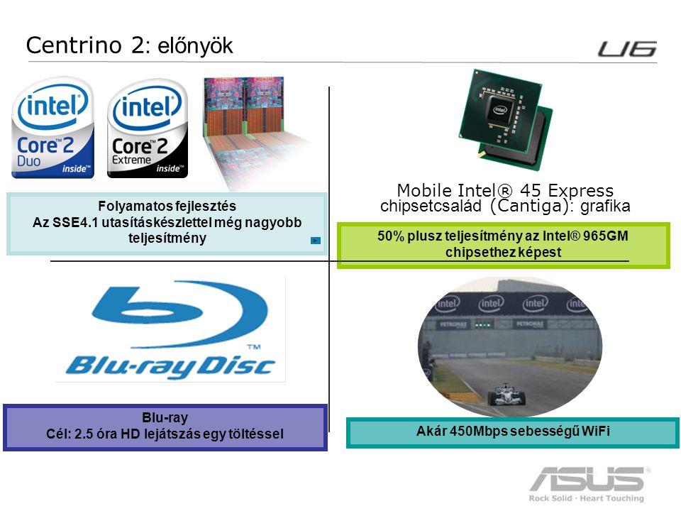 7 Centrino 2 : előnyök Mobile Intel® 45 Express chipsetcsalád (Cantiga) : grafika Akár 450Mbps sebességű WiFi Folyamatos fejlesztés Az SSE4.1 utasítás