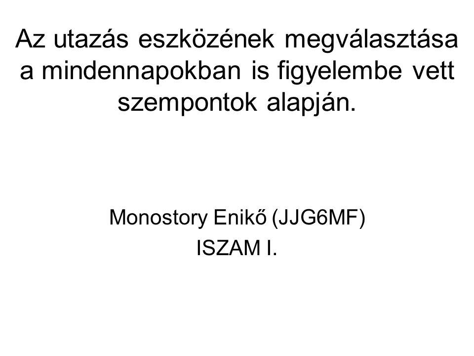 Monostory Enikő (JJG6MF) ISZAM I. Az utazás eszközének megválasztása a mindennapokban is figyelembe vett szempontok alapján.