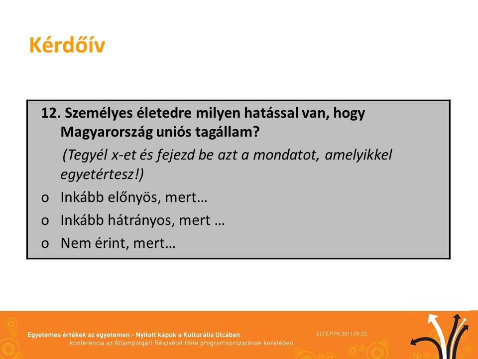 Kérdőív 12. Személyes életedre milyen hatással van, hogy Magyarország uniós tagállam? (Tegyél x-et és fejezd be azt a mondatot, amelyikkel egyetértesz