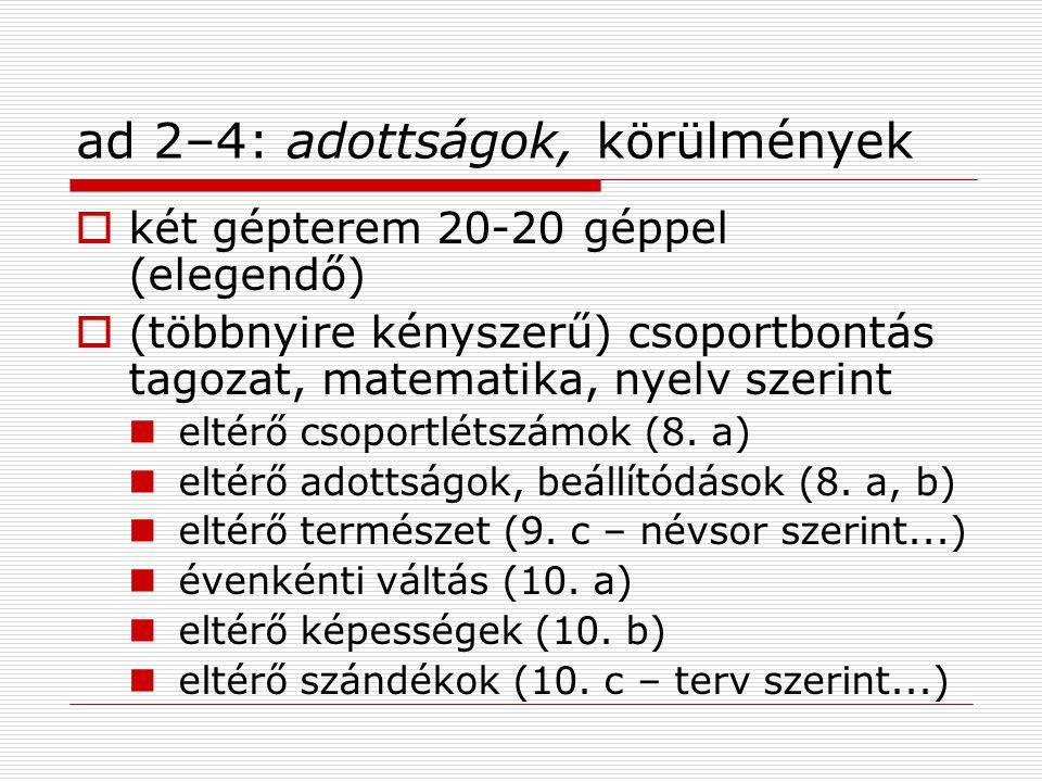 ad 2–4: adottságok, körülmények  két gépterem 20-20 géppel (elegendő)  (többnyire kényszerű) csoportbontás tagozat, matematika, nyelv szerint eltérő csoportlétszámok (8.