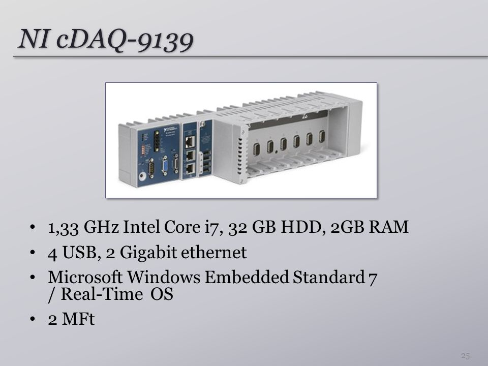 NI cDAQ-9139 1,33 GHz Intel Core i7, 32 GB HDD, 2GB RAM 4 USB, 2 Gigabit ethernet Microsoft Windows Embedded Standard 7 / Real-Time OS 2 MFt 25