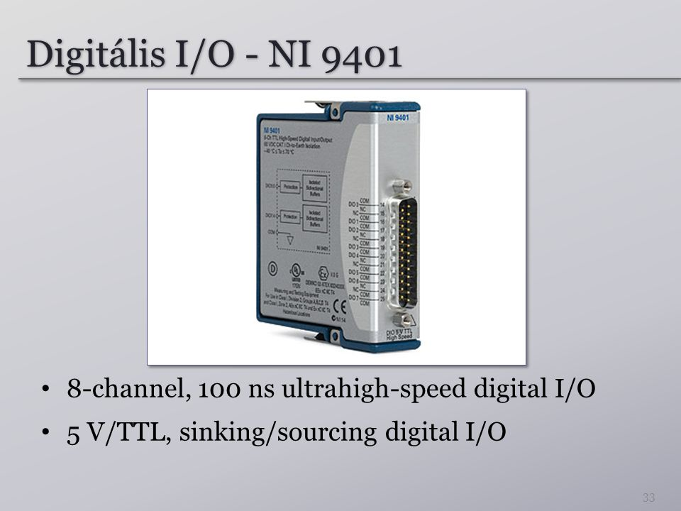 Digitális I/O - NI 9401 8-channel, 100 ns ultrahigh-speed digital I/O 5 V/TTL, sinking/sourcing digital I/O 33