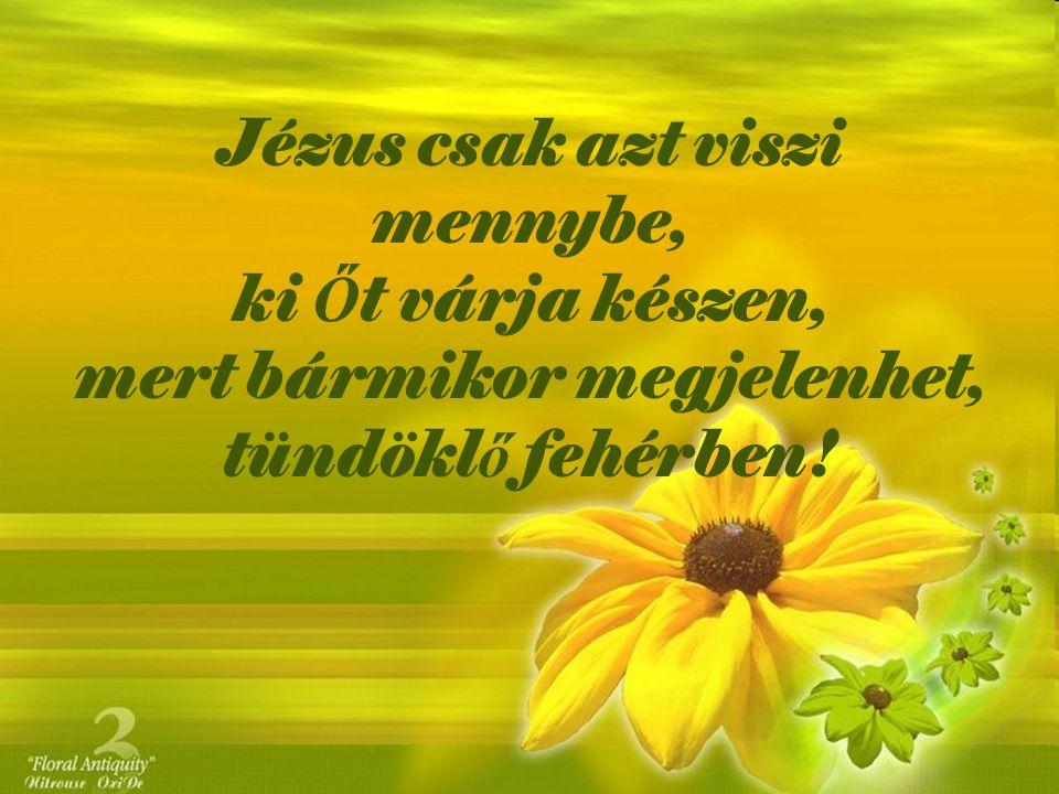 Jézus csak azt viszi mennybe, ki Ő t várja készen, mert bármikor megjelenhet, tündökl ő fehérben!