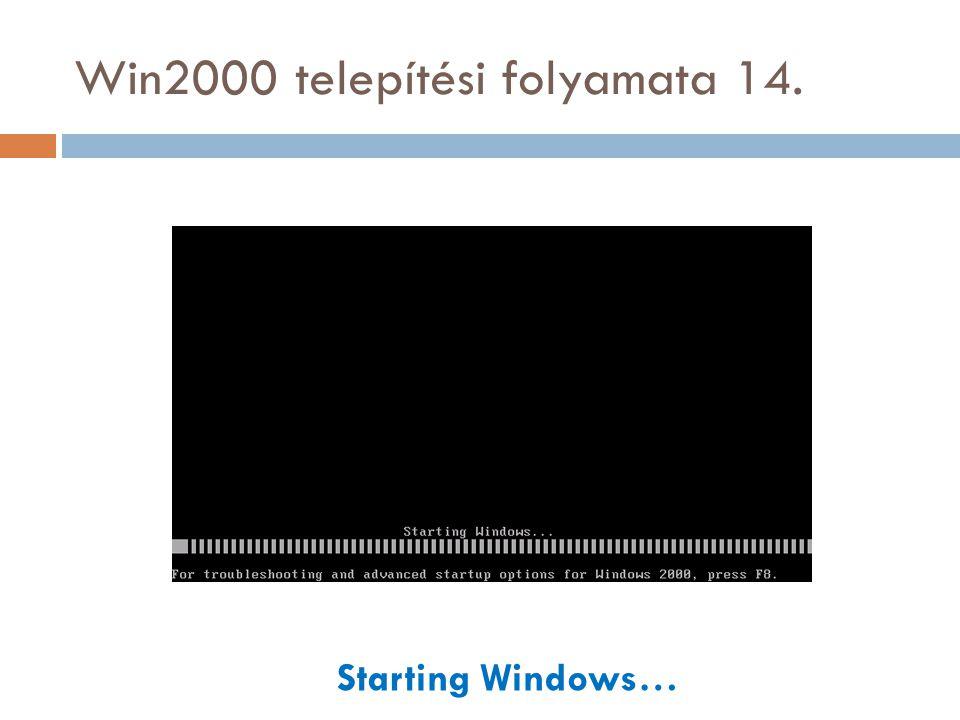Win2000 telepítési folyamata 14. Starting Windows…