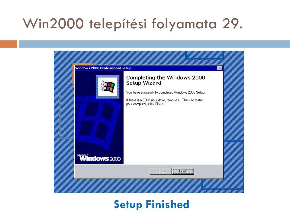 Win2000 telepítési folyamata 29. Setup Finished