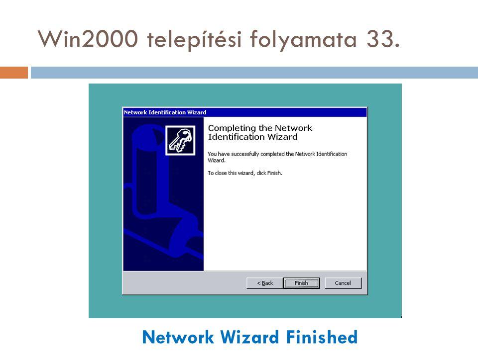 Win2000 telepítési folyamata 33. Network Wizard Finished