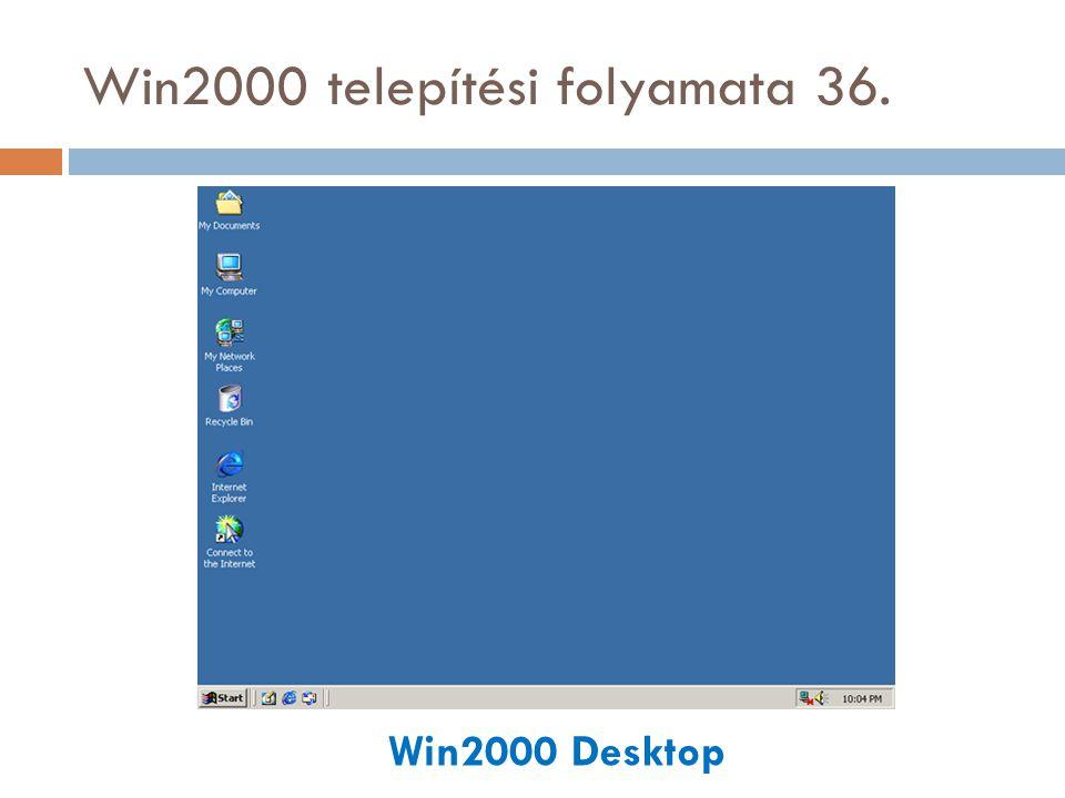 Win2000 telepítési folyamata 36. Win2000 Desktop