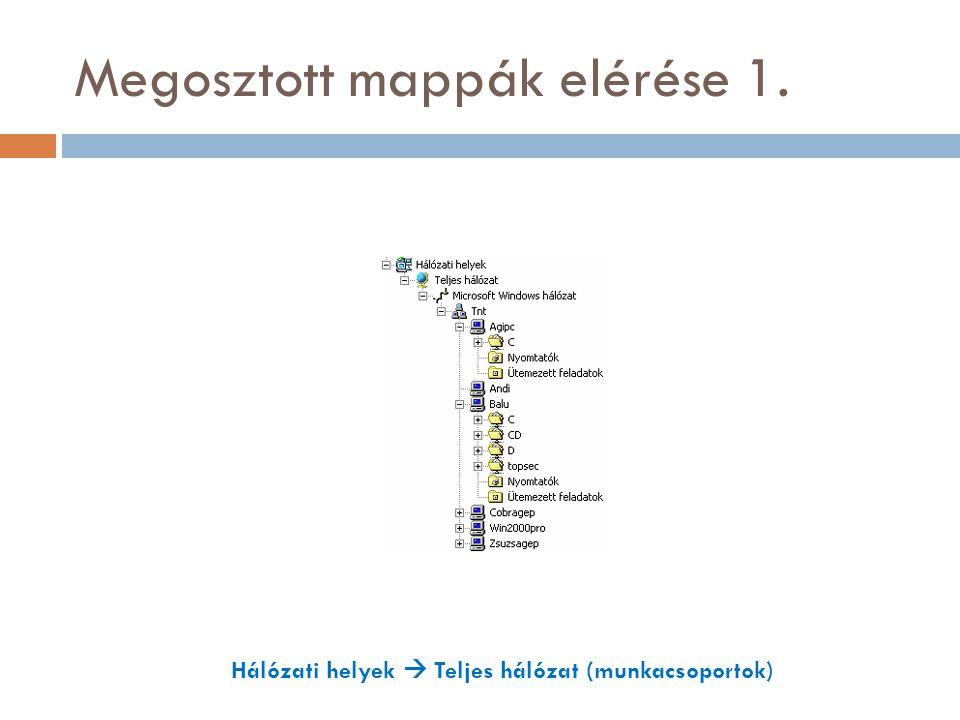 Megosztott mappák elérése 1. Hálózati helyek  Teljes hálózat (munkacsoportok)