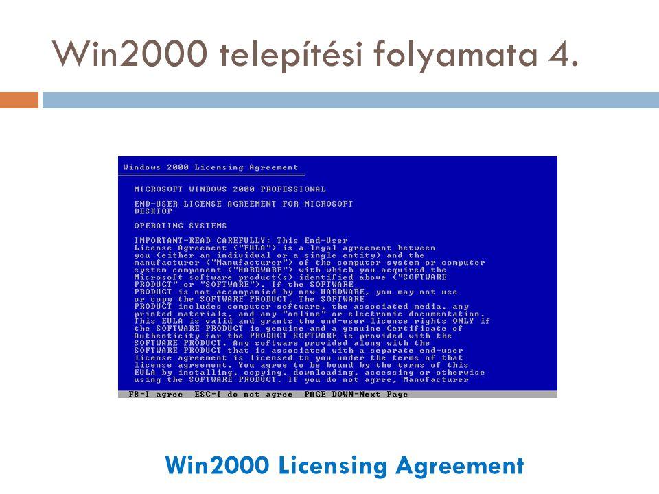 Win2000 telepítési folyamata 34. Log On to Win2000 screen