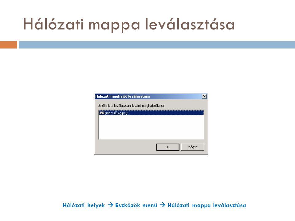 Hálózati mappa leválasztása Hálózati helyek  Eszközök menü  Hálózati mappa leválasztása