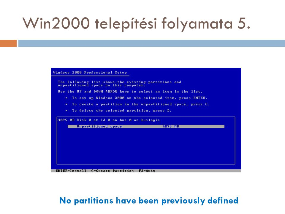 Win2000 telepítési folyamata 5. No partitions have been previously defined