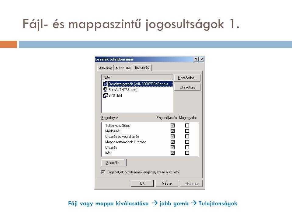 Fájl- és mappaszintű jogosultságok 1. Fájl vagy mappa kiválasztása  jobb gomb  Tulajdonságok