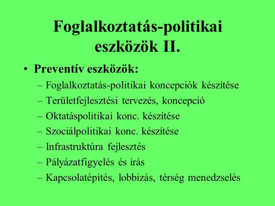 Foglalkoztatás-politikai eszközök I.Passzív eszközök: mn.