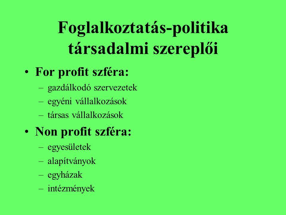 Foglalkoztatás-politika társadalmi szereplői For profit szféra: –gazdálkodó szervezetek –egyéni vállalkozások –társas vállalkozások Non profit szféra: –egyesületek –alapítványok –egyházak –intézmények