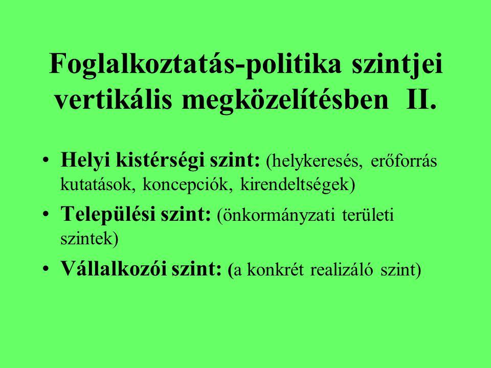 Foglalkoztatás-politika szintjei vertikális megközelítésben II.