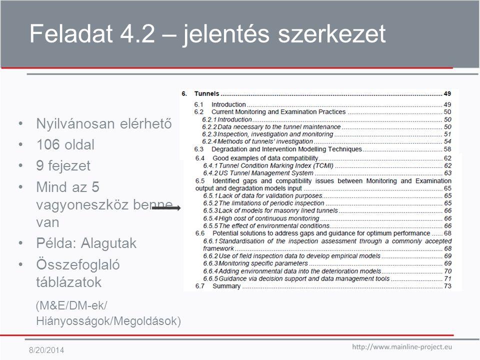 Feladat 4.2 – jelentés szerkezet 8/20/2014 Nyilvánosan elérhető 106 oldal 9 fejezet Mind az 5 vagyoneszköz benne van Példa: Alagutak Összefoglaló táblázatok (M&E/DM-ek/ Hiányosságok/Megoldások)