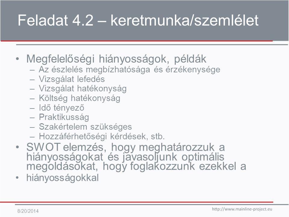 Feladat 4.2 – keretmunka/szemlélet 8/20/2014 Megfelelőségi hiányosságok, példák –Az észlelés megbízhatósága és érzékenysége –Vizsgálat lefedés –Vizsgálat hatékonyság –Költség hatékonyság –Idő tényező –Praktikusság –Szakértelem szükséges –Hozzáférhetőségi kérdések, stb.