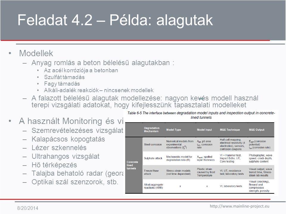 Feladat 4.2 – Példa: alagutak 8/20/2014 Modellek –Anyag romlás a beton bélelésű alagutakban : Az acél korróziója a betonban Szulfát támadás Fagy támadás Alkáli-adalék reakciók – nincsenek modellek –A falazott bélelésű alagutak modellezése: nagyon kevés modell használ terepi vizsgálati adatokat, hogy kifejlesszünk tapasztalati modelleket A használt Monitoring és vizsgálati technikák M&E –Szemrevételezéses vizsgálat (vagy távoli) –Kalapácsos kopogtatás –Lézer szkennelés –Ultrahangos vizsgálat –Hő térképezés –Talajba behatoló radar (georadar) –Optikai szál szenzorok, stb.
