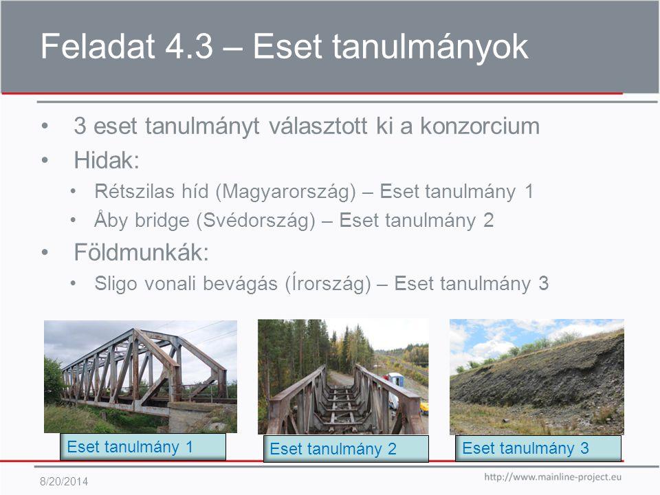 Feladat 4.3 – Eset tanulmányok 8/20/2014 3 eset tanulmányt választott ki a konzorcium Hidak: Rétszilas híd (Magyarország) – Eset tanulmány 1 Åby bridge (Svédország) – Eset tanulmány 2 Földmunkák: Sligo vonali bevágás (Írország) – Eset tanulmány 3 Eset tanulmány 1 Eset tanulmány 2 Eset tanulmány 3