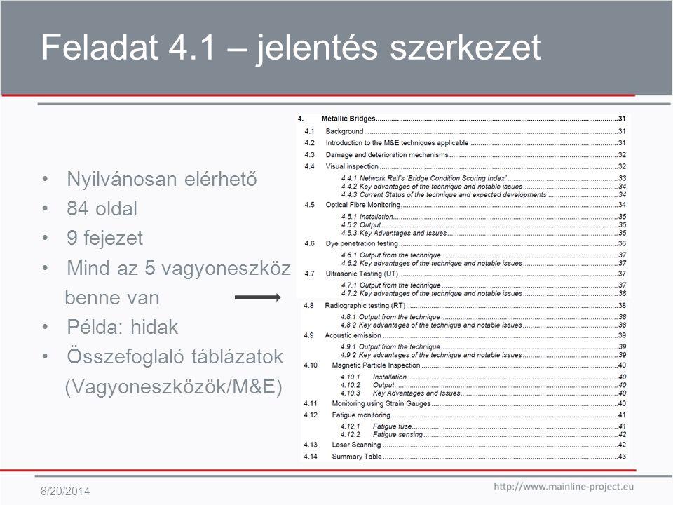 Feladat 4.1 – M&E technikák 8/20/2014 Leggyakrabban alkalmazott M&E technikák: Szemrevételezéses vizsgálat Nyúlásmérő bélyegek Hajlásmérők Radiográfia (röntgen) Ultrahangos vizsgálat Örvényáramos vizsgálat Thermográfia Lézer szkennelés (range finder) Talajba behatoló radar (georadar) Automatizált látkép monitoring Akusztikus kibocsátás vizsgálat Optikai szálak, stb.