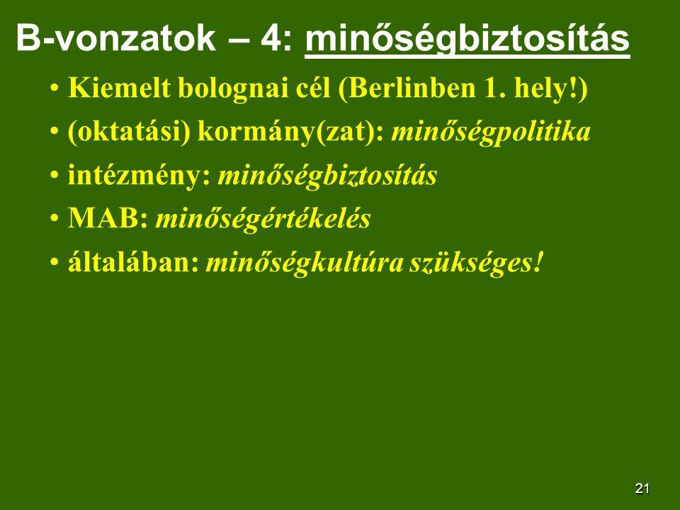 21 B-vonzatok – 4: minőségbiztosítás Kiemelt bolognai cél (Berlinben 1.