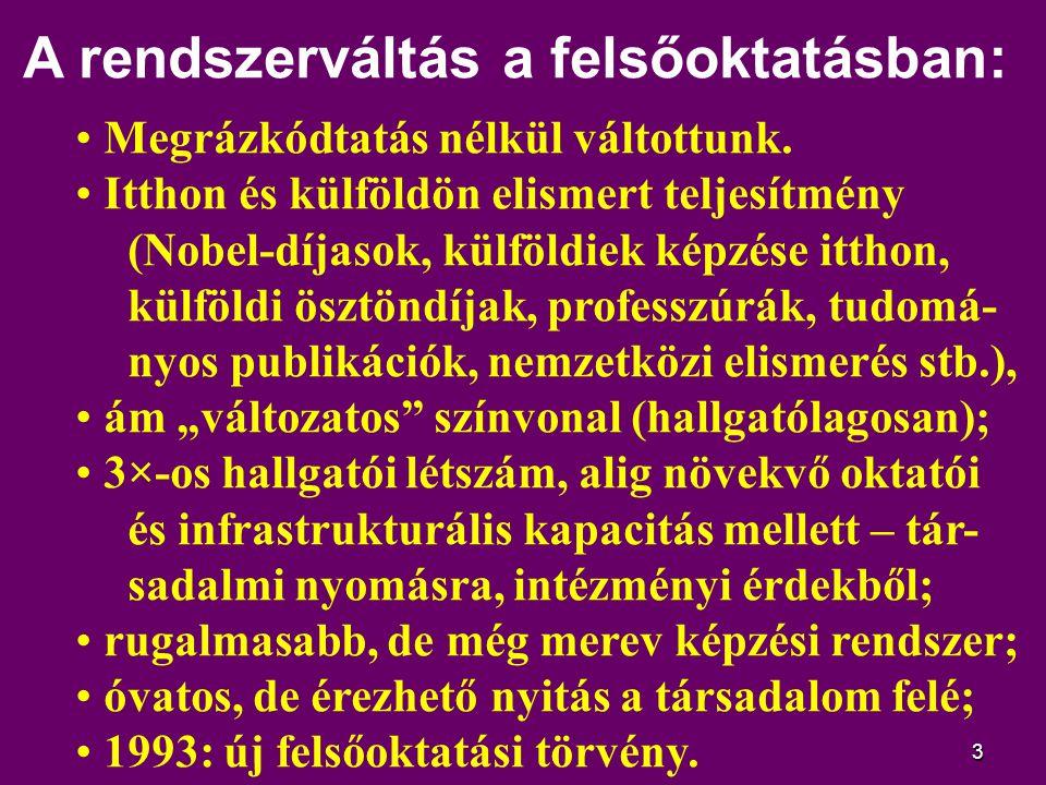 """4 Új lehetőségek és kényszerek: intenzívebb lett a nemzetközi kapcsolat rendszer – hallgatói és oktatói téren is; a doktori (PhD) képzés és fokozatadás egye- temi jog és kötelesség lett; a minőségértékelés (akkreditáció) új és erős tényező lett a magyar felsőoktatásban; a költségvetési támogatás alig nőtt, sőt egyértelmű fajlagos forráskivonás történt; megjelent a (""""soft ) nem-állami felsőoktatási szektor – a versenyhelyzet előszeleként; az oktatáspolitika az elaprózott intézmény- rendszert felemásan integrálta;"""