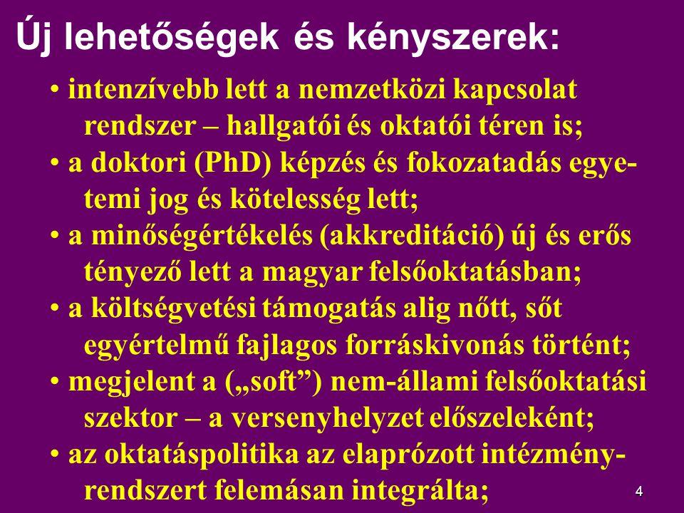 15 Bologna: ciklusos képzési szerkezet Három ciklusú, lineáris képzési rend; Európa határozta el, angolszász mintára; mi nem koncepcionális alapvetéssel kezdtük (a hollandok, norvégok stb.