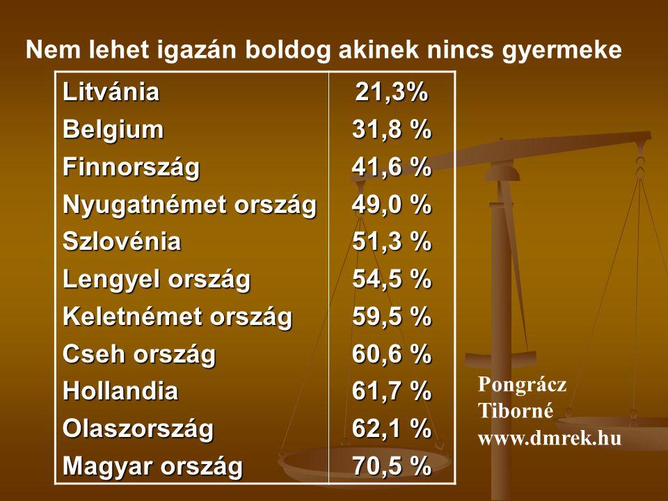 Nem lehet igazán boldog akinek nincs gyermeke LitvániaBelgiumFinnország Nyugatnémet ország Szlovénia Lengyel ország Keletnémet ország Cseh ország HollandiaOlaszország Magyar ország 21,3% 31,8 % 41,6 % 49,0 % 51,3 % 54,5 % 59,5 % 60,6 % 61,7 % 62,1 % 70,5 % Pongrácz Tiborné www.dmrek.hu