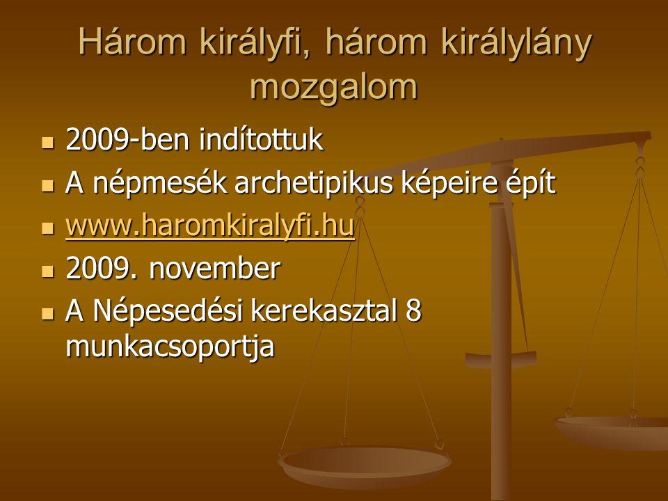 Három királyfi, három királylány mozgalom 2009-ben indítottuk 2009-ben indítottuk A népmesék archetipikus képeire épít A népmesék archetipikus képeire épít www.haromkiralyfi.hu www.haromkiralyfi.hu www.haromkiralyfi.hu 2009.