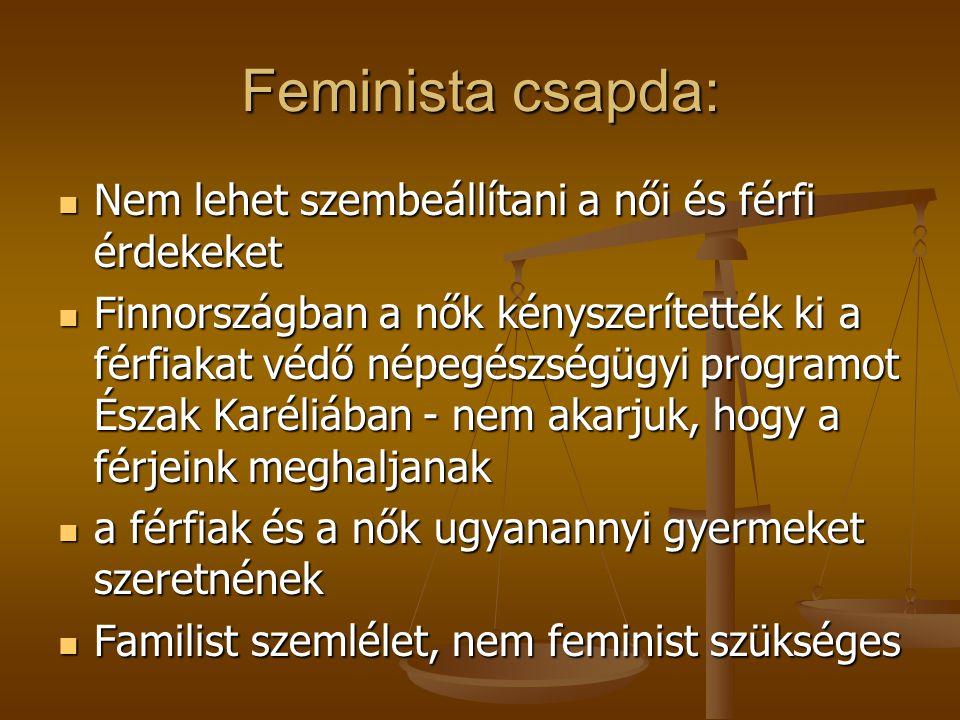 Feminista csapda: Nem lehet szembeállítani a női és férfi érdekeket Nem lehet szembeállítani a női és férfi érdekeket Finnországban a nők kényszerítették ki a férfiakat védő népegészségügyi programot Észak Karéliában - nem akarjuk, hogy a férjeink meghaljanak Finnországban a nők kényszerítették ki a férfiakat védő népegészségügyi programot Észak Karéliában - nem akarjuk, hogy a férjeink meghaljanak a férfiak és a nők ugyanannyi gyermeket szeretnének a férfiak és a nők ugyanannyi gyermeket szeretnének Familist szemlélet, nem feminist szükséges Familist szemlélet, nem feminist szükséges