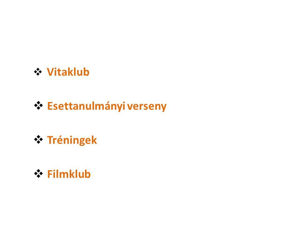 Vitaklub  Esettanulmányi verseny  Tréningek  Filmklub