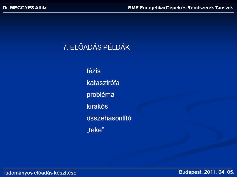BME Energetikai Gépek és Rendszerek Tanszék Dr. MEGGYES Attila Tudományos előadás készítése 7. ELŐADÁS PÉLDÁK tézis katasztrófa probléma kirakós össze