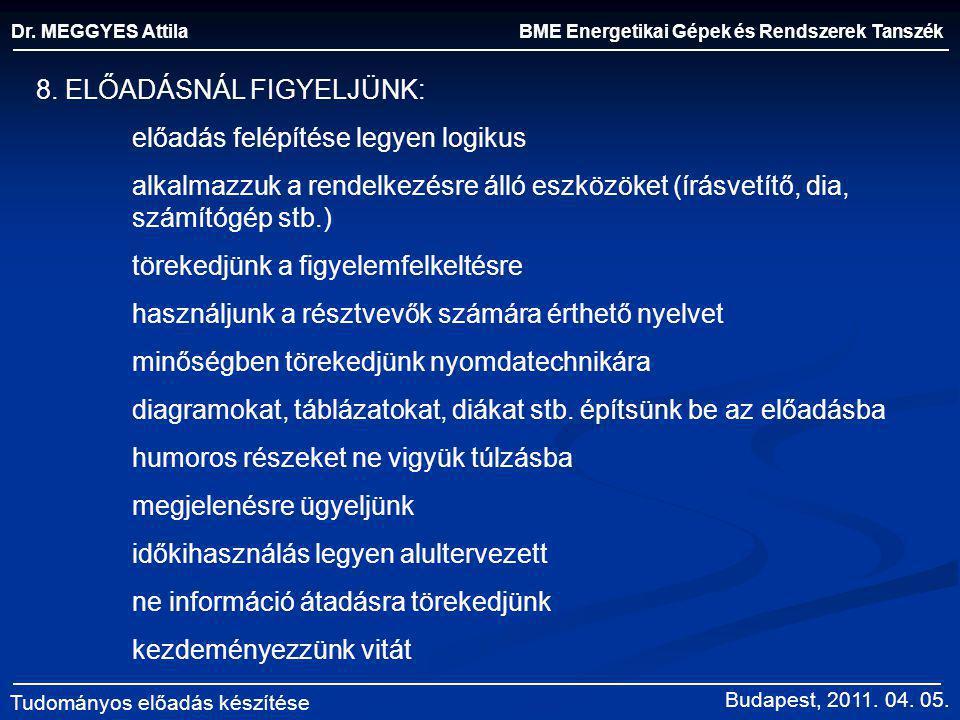 BME Energetikai Gépek és Rendszerek Tanszék Dr. MEGGYES Attila Tudományos előadás készítése 8. ELŐADÁSNÁL FIGYELJÜNK: előadás felépítése legyen logiku