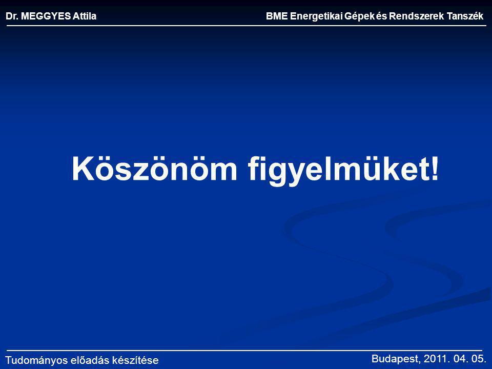 Köszönöm figyelmüket! BME Energetikai Gépek és Rendszerek Tanszék Dr. MEGGYES Attila Tudományos előadás készítése Budapest, 2011. 04. 05.