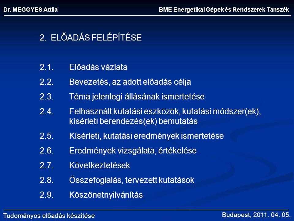 BME Energetikai Gépek és Rendszerek Tanszék Dr. MEGGYES Attila Tudományos előadás készítése 2.ELŐADÁS FELÉPÍTÉSE 2.1.Előadás vázlata 2.2.Bevezetés, az