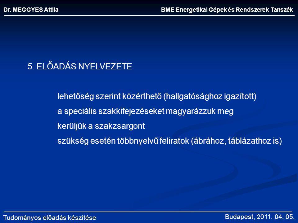 BME Energetikai Gépek és Rendszerek Tanszék Dr. MEGGYES Attila Tudományos előadás készítése 5. ELŐADÁS NYELVEZETE lehetőség szerint közérthető (hallga