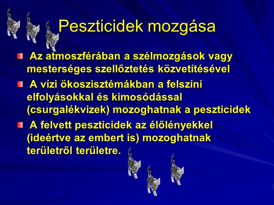 Peszticidek mozgása Az atmoszférában a szélmozgások vagy mesterséges szellőztetés közvetítésével Az atmoszférában a szélmozgások vagy mesterséges szel