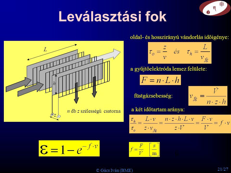 21/27 © Gács Iván (BME) Leválasztási fok a gyűjtőelektróda lemez felülete: L z h oldal- és hosszirányú vándorlás időigénye: n db z szélességű csatorna